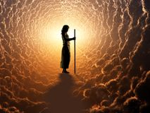 Jesus. The image of Jesus in the clouds vector illustration