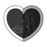 Jesus inside heart design. Jesus inside heart icon. Religion faith pray and belief theme. Isolated design. Vector illustration Royalty Free Stock Photography