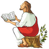 Jesus isolated reading the Bible Royalty Free Stock Image
