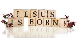 Jesus ist geboren! Stockbild