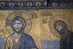 Jesus and John the Baptist, Hagia Sophia, Istanbul. Jesus and John the Baptist, The Deesis Mosaic (12th centry) in The Hagia Sophia church, Istanbul, Turkey Stock Image