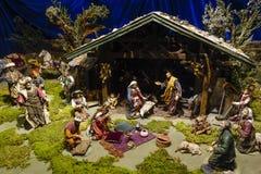 jesus josef mary för christ jullathund julkrubba Arkivbild