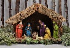 jesus josef mary för christ jullathund julkrubba Royaltyfri Foto
