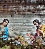 jesus josef mary för christ jullathund julkrubba Royaltyfria Bilder