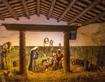 jesus josef mary för christ jullathund julkrubba Arkivbilder