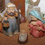 Jesus Joseph with the beard and the stick and Mary 1 Royalty Free Stock Photography