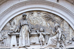 Jesus joseph and mary bas relief Stock Images