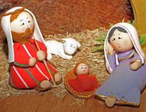 Jesus, Joseph and Mary in a manger Stock Photography