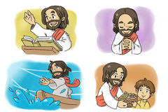 Jesus-Karikatur lizenzfreie abbildung