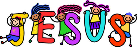 Jesus Kids. A group of happy stick children climbing over letters of the alphabet that spell out the word JESUS stock illustration