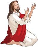 Jesus kneeling in prayer Royalty Free Stock Photo