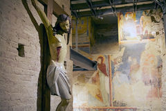 Jesus korsfästelse, Siena, Italien Arkivfoto
