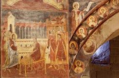 Jesus läker en sjuk man på forntida freskomålning av den Svetitskhoveli domkyrkan Lokal för Unesco-världsarv Arkivfoto