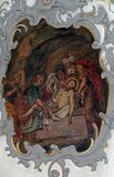 Jesus is laid in the tomb, Way of the Cross. Fresco on the ceiling of the Church of Our Lady of Sorrows in Rosenberg, Germany stock images