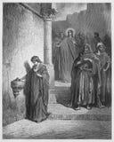 Jesus Last Days en el templo; El ácaro de la viuda stock de ilustración