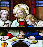 Jesus at Last Supper on Maundy Thursday - Stained Glass in Meche Stock Photography