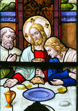 Jesus at Last Supper on Maundy Thursday - Stained Glass in Meche Royalty Free Stock Photos