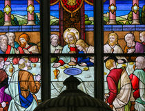 Jesus at Last Supper on Maundy Thursday - Stained Glass in Meche Royalty Free Stock Images
