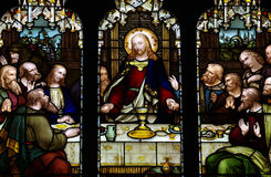 Jesus at the Last Supper. A stained glass photo of Jesus at the Last Supper Stock Images