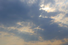 Jesus light ( cloud gap light ). The sun behind cloud in the morning Royalty Free Stock Image