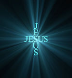 Jesus light cross light flare Royalty Free Stock Images