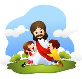 Jesus with little children Stock Photography