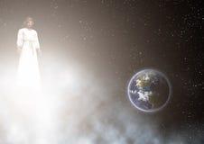 Jesus Looking Earth Illustration Fotografía de archivo libre de regalías