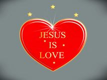 Jesus is love with stars, symbol. Photo of abstract image, Jesus is love with stars, the religion symbol, with the light and the design. Improve your website Stock Illustration