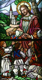 Jesus Loves the Children. Stained glass window Stock Photography