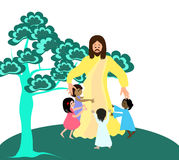 Jesus loves the little children vector illustration