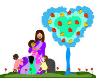 Jesus loves the little children stock illustration