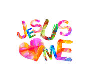 Jesus loves me. Triangular letters Stock Photos