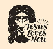 Jesus Loves You. Biblical illustration. Christian lettering vector Stock Photography
