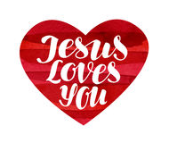 Jesus Loves You. Lettering, calligraphy in shape heart. Vector illustration Royalty Free Stock Photo