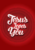 Jesus loves you. On red circle background, Vector Stock Photos