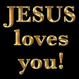 Jesus Loves You text. Jesus Loves You religious text in gold shiny metal Stock Image
