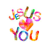 Jesus loves you. Triangular letters Royalty Free Stock Photo