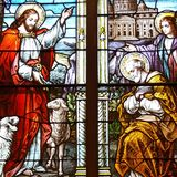 Jesus målat glassfönster Royaltyfri Fotografi