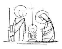 Jesus, Maagdelijke Mary en Saint Joseph bij Geboorte van Christus stock illustratie