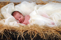 Jesus in a manger stock images