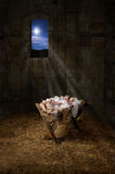 Jesus on the Manger. Baby Jesus resting on a manger with light from the star filters through window Royalty Free Stock Photos
