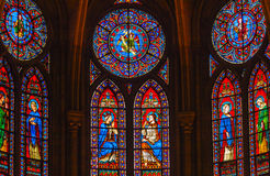 Jesus Mary Angels King Stained Glass Notre Dame Paris France fotografía de archivo