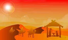 Jesus Mary en Joseph in de woestijn royalty-vrije illustratie