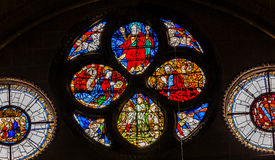 Jesus Mary Father Stained Glass Cathedral Toledo Spain Stock Images