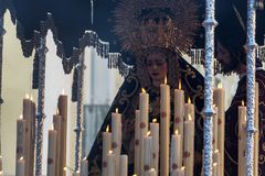 Jesus and Mary during Holy Week. Float featuring Jesus and the Virgin Mary during Holy Week in Seville, Spain stock image