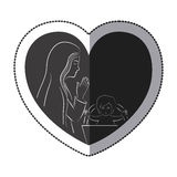 Jesus and Mary inside heart design. Jesus and Mary inside heart icon. Religion faith pray and belief theme. Isolated design. Vector illustration Stock Photography