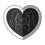 Jesus and Mary inside heart design. Jesus and Mary inside heart icon. Religion faith pray and belief theme. Isolated design. Vector illustration Royalty Free Stock Photo