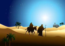 Jesus Mary and Joseph. Illustration of nativity image, Jesus Mary and Joseph journey to Egypt Royalty Free Stock Images