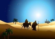 Jesus Mary and Joseph. Illustration of nativity image, Jesus Mary and Joseph journey to Egypt royalty free illustration