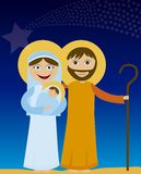 Jesus  mary and joseph. Jesus mary and joseph in the night background. vector Royalty Free Stock Photos